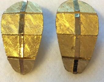 Signed BSK Clip On Earrings Gold Tone Vintage Art Deco