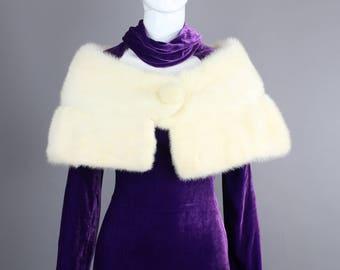 1960s White mink stole capelet fur wedding bridal cape cream
