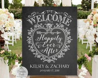 Welcome To Our Happily Ever After Printable Wedding Sign, Chalkboard Style, Personalized with Names and Date (#WEL3C)