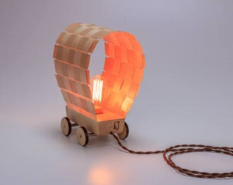 """Lamp """"Stagecoach"""" from plywood and wood with Edison bulb"""