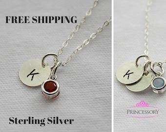 birthstone necklace  - birthstone jewelry - initial jewelry - personalized gift - mothers necklace - initial necklace - gift for mom
