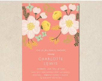 bridal shower invitation - floral bridal shower - hand illustrated - birth announcements - birthday invitation - DIY - custom - printable