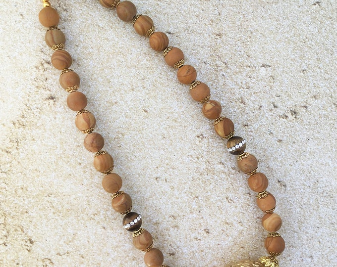 Handmade Boho Necklace, Ball Choker, Tigers Eye, Yoga, Chakra, Rhinestone, Gypsy, Coachella, Jasper, Sexy, Choker (Rustic Calm Necklace)