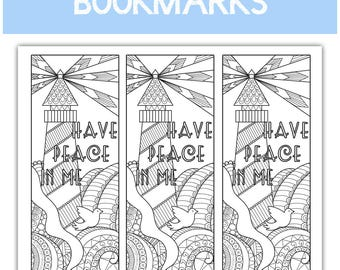 "2018 Mutual Theme Coloring Bookmarks - three to an 8.5""x11"" page - Lighthouse learn of me listen to my words have peace in me"