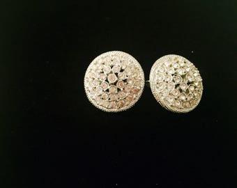 Vintage Clipon Rhinestone Earrings Signed Judy Lee 1960's Clipon Earrings Wedding Jewelry Somethiing OLD