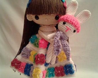 SEPTEMBER & BUNNY Crochet Amigurumi Doll - Crochet Girl Doll - Easter Girl