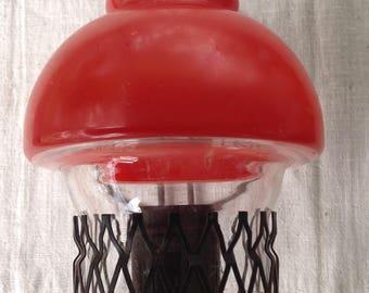 Vintage black metal red hurricane lamp wall lamp