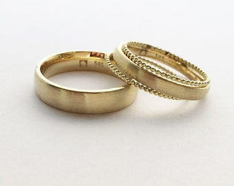 Wedding rings from 585er yellow gold with two Kügelchenringen