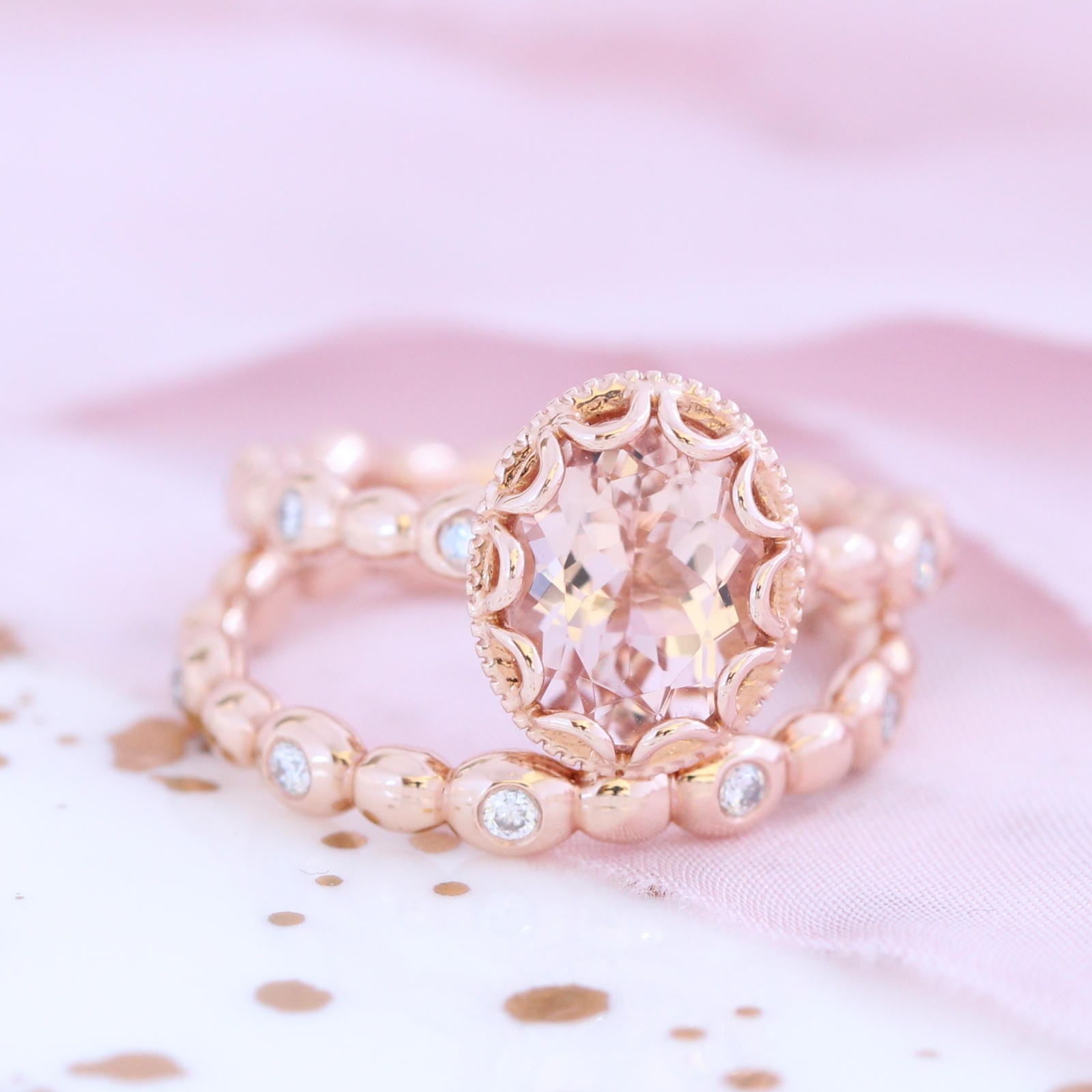 Oval Morganite Engagement Ring Bridal Set in 14k Rose Gold