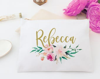 Monogram White Cosmetic Bag - Personalized Floral Bags, Monogram Makeup Bag, Custom Cosmetic Bag, Personalized toiletry bag, pencil bag