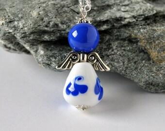 Glass guardian angel, long angel necklace, angel pendant, glass jewelry, romantic, angel for girls, lampwork angel, woman gift ideas, angel