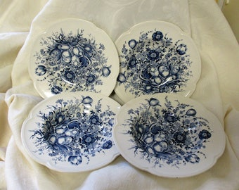 Four 8 in  Rim Soup Bowls Windsor Ware Dover Blue Johnson Brothers EngLand Genuine Ironstone Dinnerware Country French