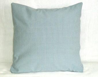 Pillow case, aqua-white plaid