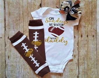 On Sundays we watch football with daddy/football baby clothes/baby boy clothes/baby girl clothes/1st football season with daddy