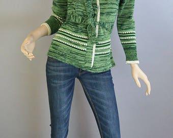 60s Green Cardigan// Vintage Wrap Sweater// Brady Bunch Sweater