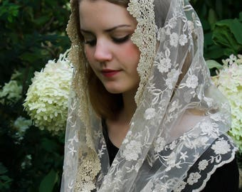 Evintage Veils~ Lovely Soft Gold Embroidered  Traditional Vintage Inspired InfinityVeil Mantilla Chapel Veil