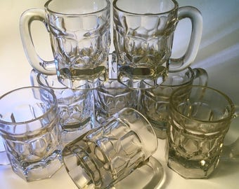 Set of eight heavy sturdy thick vintage glass short beer mugs