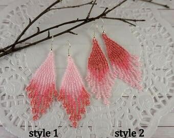 Pink earrings Tiny earrings Dangle earrings Beaded earrings Daughter GifFor|Girl Small earrings Boho earrings Lightweight earrings for girls
