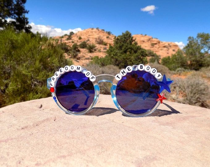 """Sale! Ween """"Freedom of the Body"""" decorated sunglasses, inspired by Freedom of '76"""