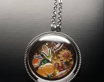 Thanksgiving Floating Locket Necklace-Great Gift Idea