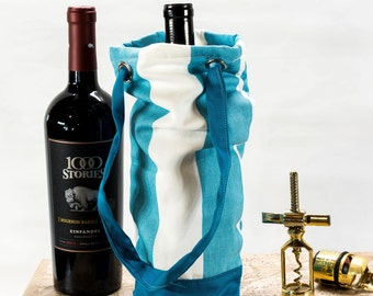 Traveling Wine Bag, Wine Tote, Custom Wine Bag for Wine Lovers, Blue and White Wine Bag