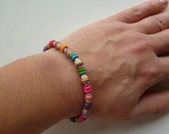 "elastic bracelet ""rainbow 3"" wood and multicolored paper beads"
