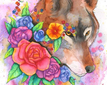 Floral Wolf Print