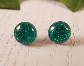 Aqua Button Stud Earrings - Hypo-Allergenic Surgical Steel
