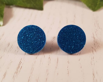 Blue Resin Button Stud Earring - Hypo-Allergenic Surgical Steel