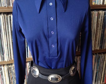 Vintage 70s 'Sears' Navy Blue, Pointed Collar Shirt, UK 8-10, US 4-6