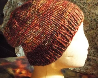 Rich Brown/Bronze/Rust Woolen Slouch Hat  -- Soft Merino Wool