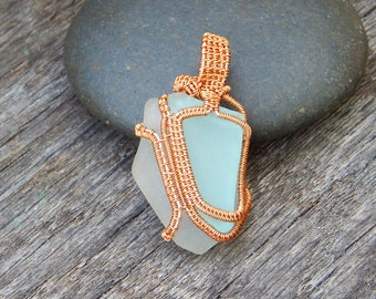Sea glass necklace, beach necklace, genuine sea glass, beach gift, wire wrapped pendant, aqua blue, sea glass pendant, sea glass jewelry