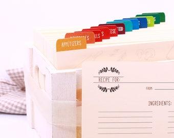 Recipe Dividers, Recipe Cards Dividers, Recipe Box Dividers, Custom Recipe Divider, Recipe Index Card, Personalized Recipe Divider 12CT
