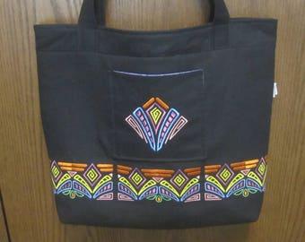 MOLA Inspired EMBROIDERED Black DENIM Bag