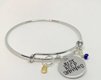"""Finding Nemo Dory inspired hand-stamped bangle bracelet - """"Just Keep Swimming"""""""