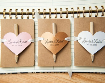 25+ Kraft wedding favours. Mini notebook favours with printed hearts,ribbons and pencil. Notebook favours. Custom wedding favour place cards