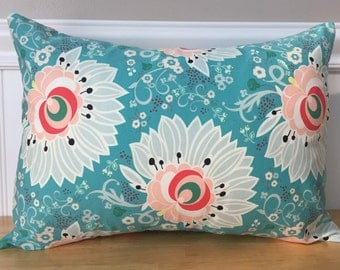 """12"""" x 16"""" Pillow Cover in Teal Coral Peach Mint Green White Flower Modern Baby Girl Nursery Lumbar Accent Pillow Cover"""