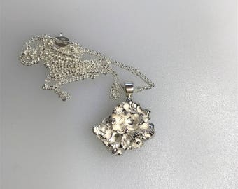 Silver Cast Pendant, Freeform Cast, with a Sterling Silver Curb Chain