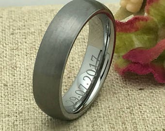 6mm Personalized Tungsten Wedding band, Custom Engraved Ring, Tungsten Ring, Groom's Ring, Promise Ring for Him, Men's Wedding Band