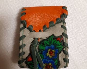 Etui for cigarettes,smoker box, genuine leather, green and orange,with flower,smoker utensil,smoker item,cigarette case,leather case,unique