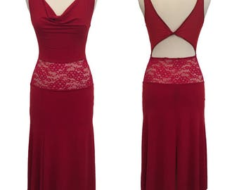 Red Argentine Tango Dress | Milonga Dress | Tango Show Dress