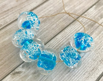 2+ Blue lampwork bubble beads 15 mm. Lampwork Glass Beads - Craft Supplies Jewelry - Air Bubble Lampwork Beads - Beading Supplies