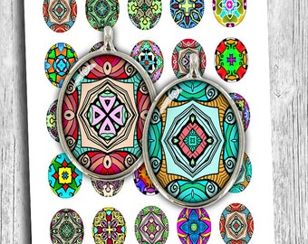 Colorful Abstact Ovals Digital Cabochon 13x18mm 30x40mm 22x30mm 18x25mm Pop Art Ovals Digital Collage Sheet Instant Download