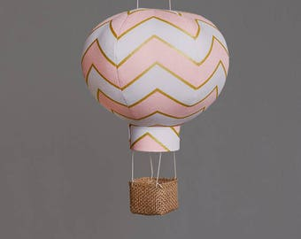 Hot Air Balloon Decoration in Blush Chevron - Nursery, Wedding and Baby Shower Decor - Travel and Explore Themed -