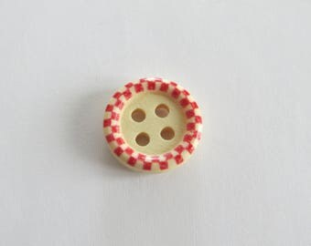 (Set of 3) Red patterned wooden button