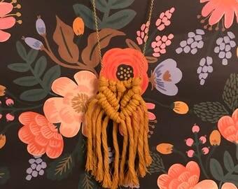 Mustard Cotton Boho Macrame Necklace