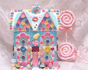 OOAK Medium Turquoise Gingerbread House Lighted 10 Inch