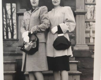 40s fashions pretty young women hats purses pumps