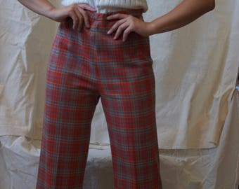 Vintage 70s 80s Wool Flared Nuetral Red Plaid Cropped Pants // 27-29