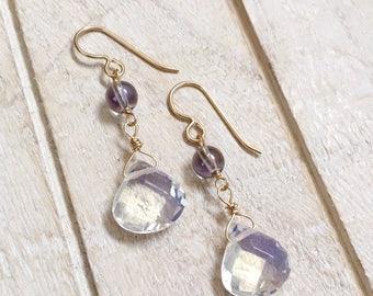 Aura Quartz and Opalite Earrings, Opalite Earrings, Aura Quartz Earrings, Gold Opalite Earrings, Gold Aura Quartz Jewelry, Opalite Jewelry